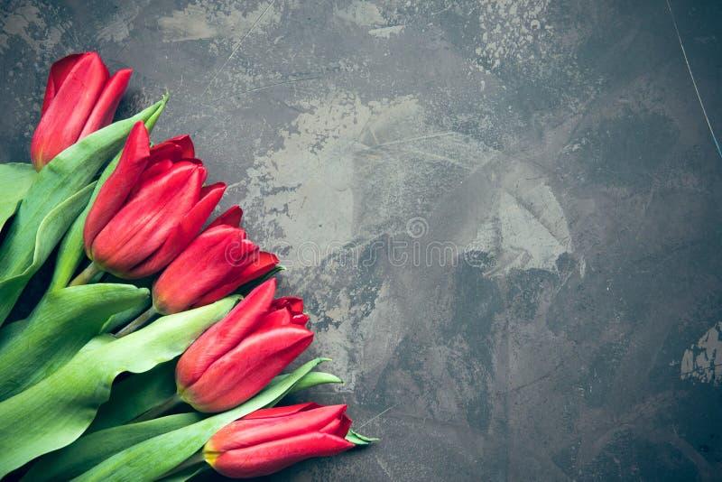 Opinión superior de los tulipanes rojos con el espacio de la copia fotos de archivo libres de regalías