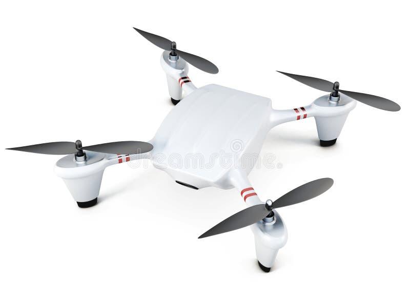 Opinión superior de Quadrocopter sobre el fondo blanco representación 3d ilustración del vector