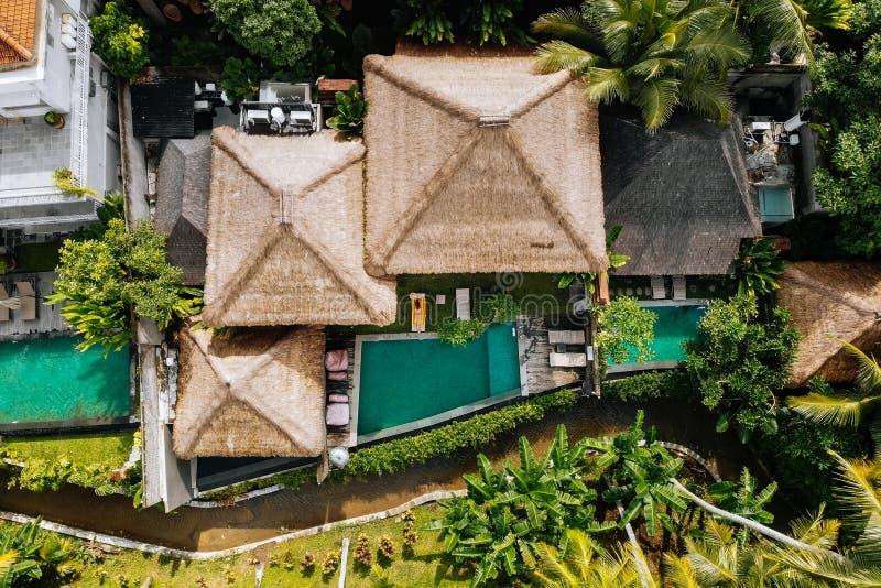 Opinión superior del abejón del hotel de lujo con los chalets y las piscinas del tejado de la paja en selva y palmeras tropicales foto de archivo libre de regalías