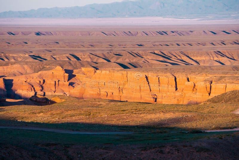 Opinión superior del barranco de Charyn - la formación geológica consiste en la piedra roja grande asombrosa de la arena Parque n fotos de archivo