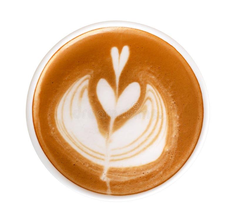 Opinión superior del café del capuchino del latte del arte del corazón de la forma caliente de la flor aislada en el fondo blanco foto de archivo libre de regalías