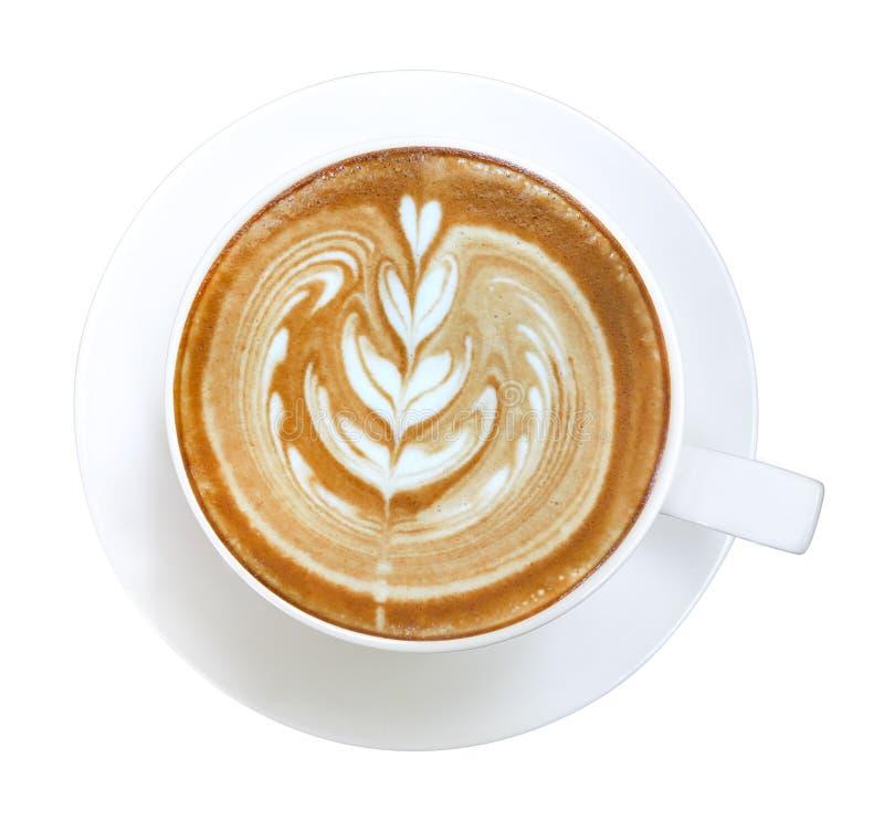 Opinión superior del café del capuchino del latte del arte del corazón de la forma caliente de la flor aislada en el fondo blanco fotos de archivo libres de regalías