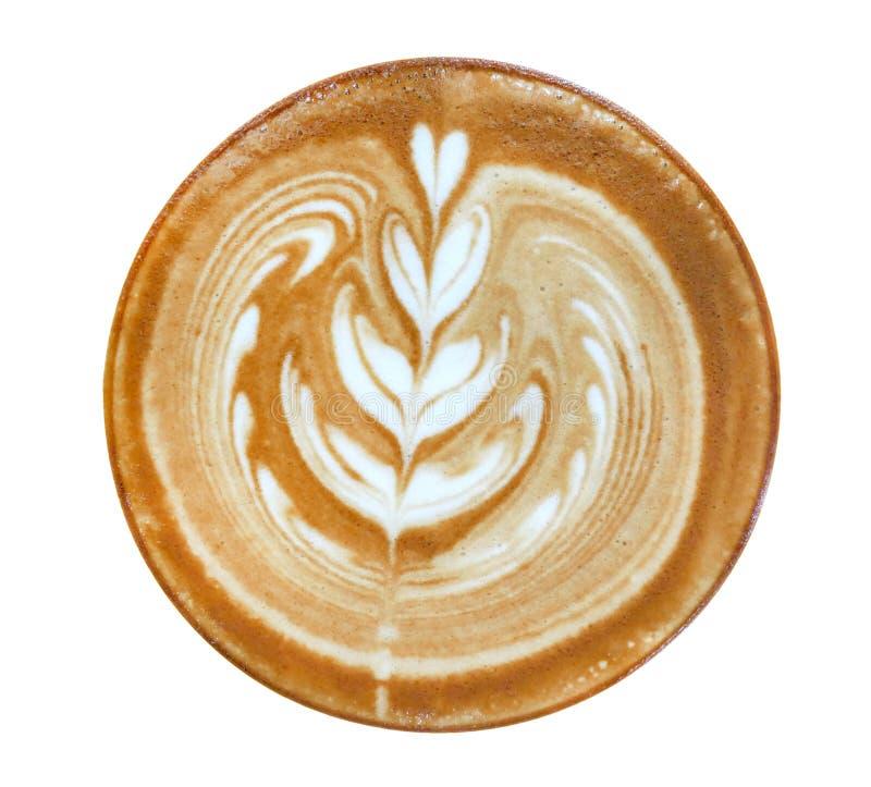 Opinión superior del café del capuchino del latte del arte del corazón de la forma caliente de la flor aislada en el fondo blanco fotografía de archivo libre de regalías