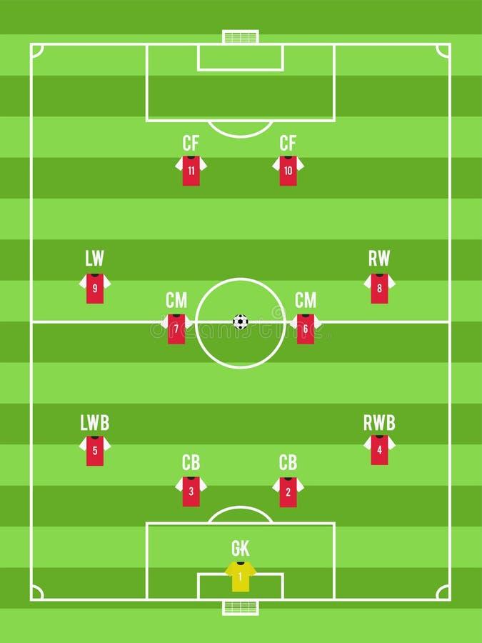 Opinión superior del campo del fútbol o de fútbol con el arreglo editable de jugadores stock de ilustración