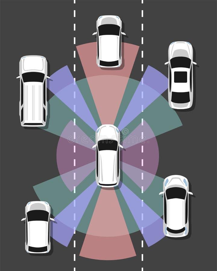 Opinión superior del coche autónomo Uno mismo que conduce el vehículo ilustración del vector