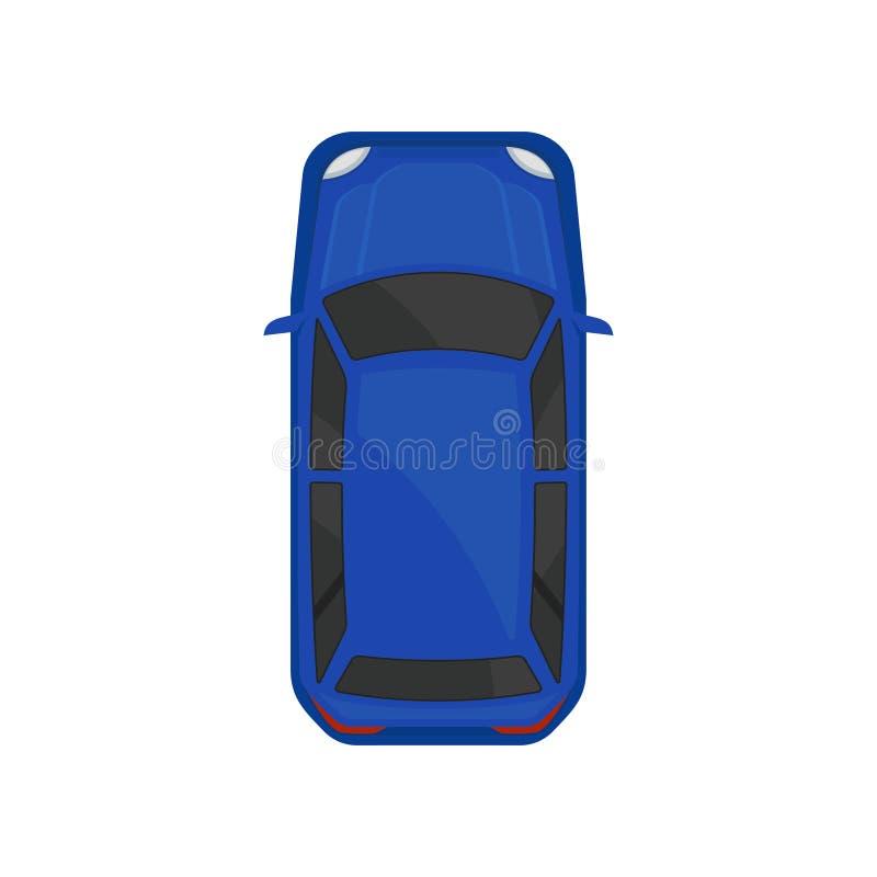 Opinión superior del coche azul, transporte del vehículo de la ciudad, automóvil para el ejemplo del vector del transporte stock de ilustración