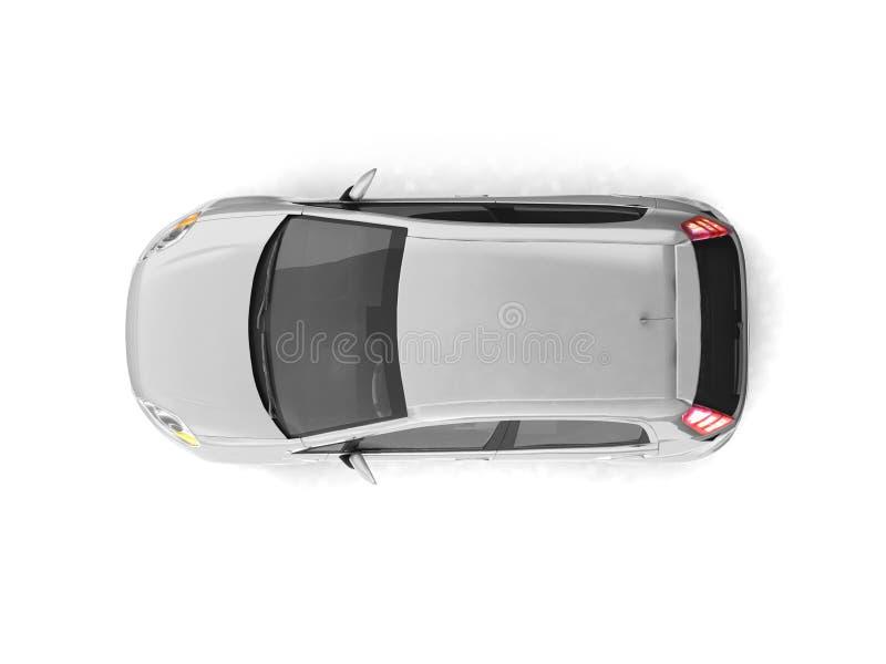 Opinión superior del coche de plata de la ventana trasera ilustración del vector