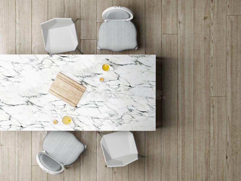 Opinión superior del comedor sobre la tabla de mármol libre illustration