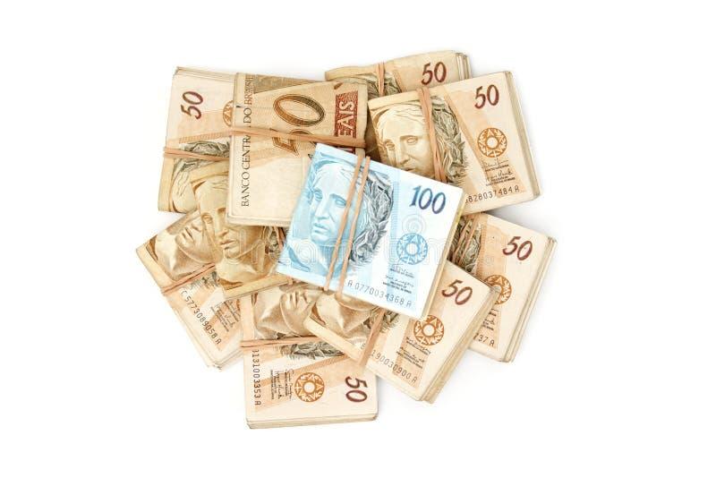 Opinión superior del dinero brasileño fotos de archivo