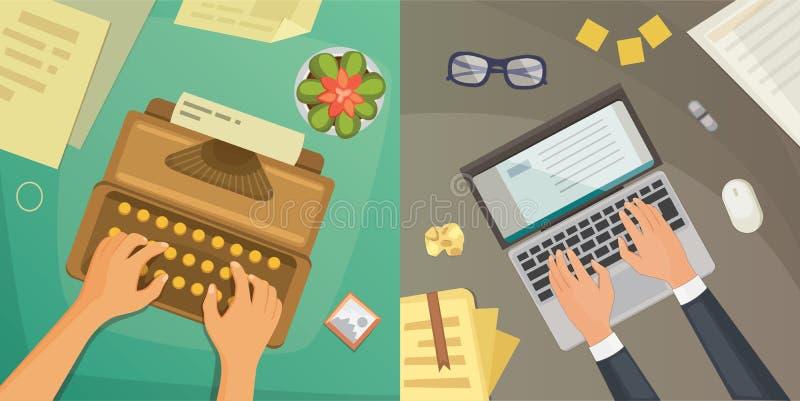 Opinión superior del diseño plano sobre el diseño de concepto del escritorio, escribiendo en letra Lugar de trabajo con la máquin ilustración del vector