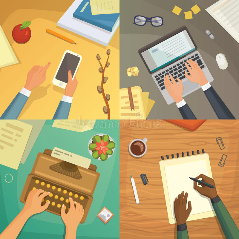 Opinión superior del diseño plano sobre el diseño de concepto del escritorio, escribiendo en letra Lugar de trabajo con la máquin stock de ilustración