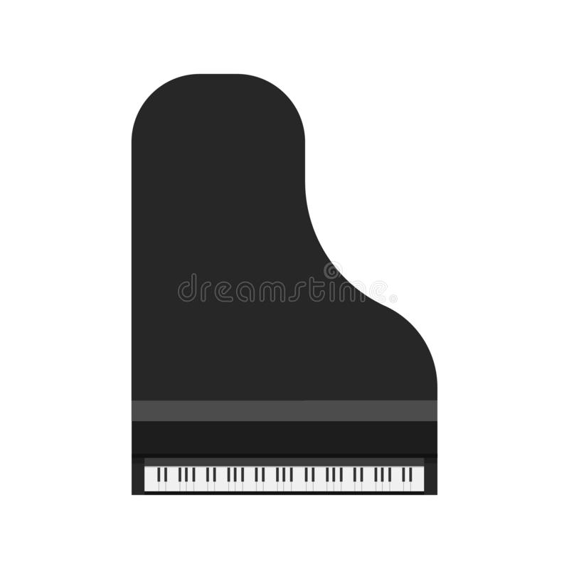 Opinión superior del icono del vector del negro del piano de cola Muebles sinfónicos del teclado de la música del símbolo del art ilustración del vector