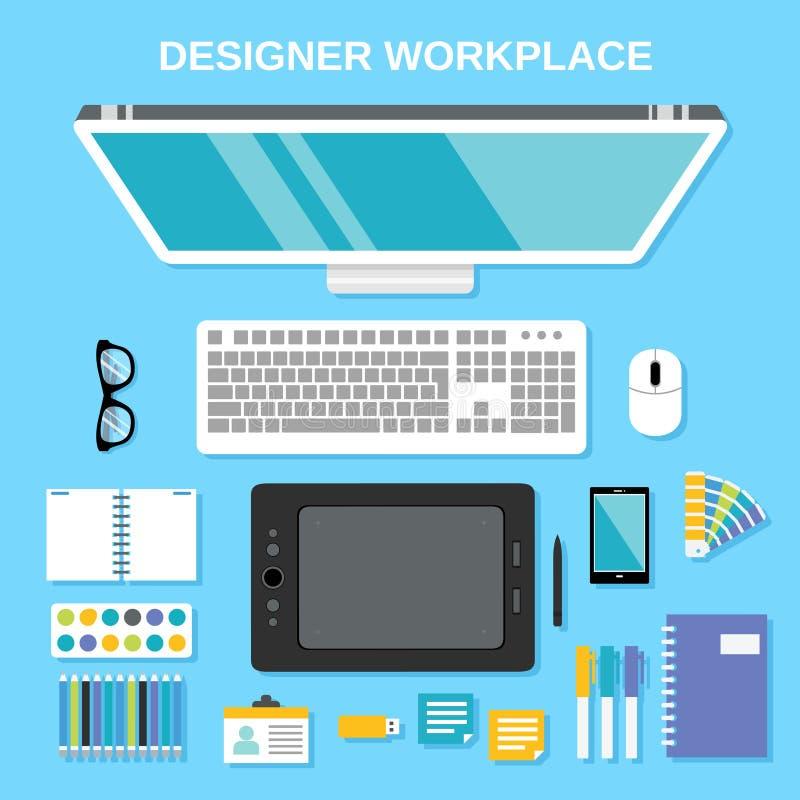Opinión superior del lugar de trabajo del diseñador stock de ilustración