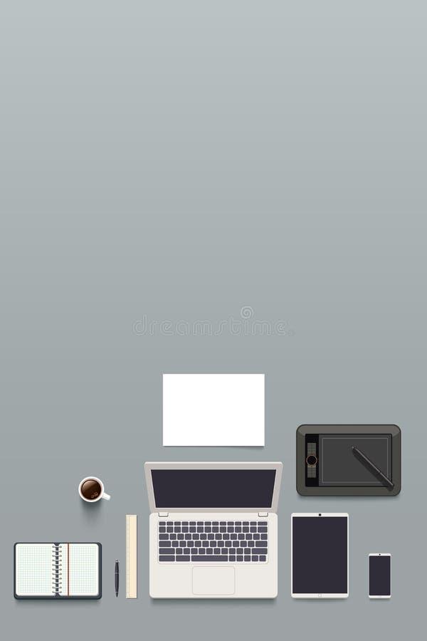 Opinión superior del lugar de trabajo del diseñador ilustración del vector