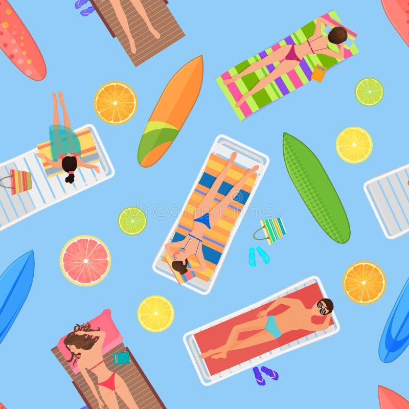 Opinión superior del modelo inconsútil abstracto del verano Desde arriba de gente del verano en piscina Gente del verano con la f libre illustration