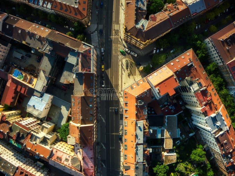 Opinión superior del plumón de la calle de Praga fotos de archivo