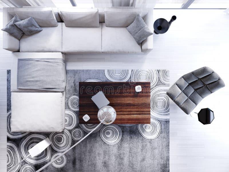 Opinión superior del sofá de la esquina con la butaca y la lámpara de pie en la vida contemporánea libre illustration