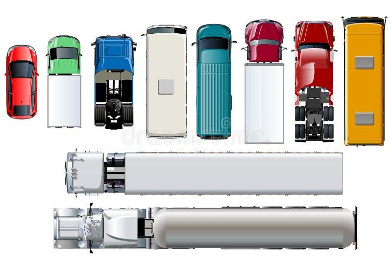 Opinión superior del transporte del vector Vehículos realistas aislados fijados en el fondo blanco libre illustration