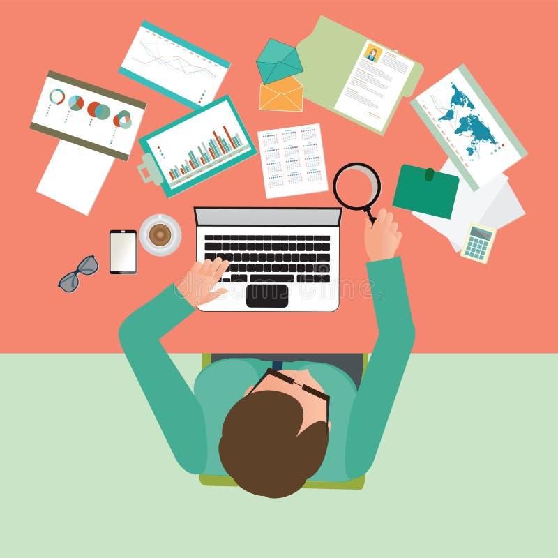 Opinión superior el hombre de negocios ocupado que trabaja difícilmente en su escritorio en oficina ilustración del vector