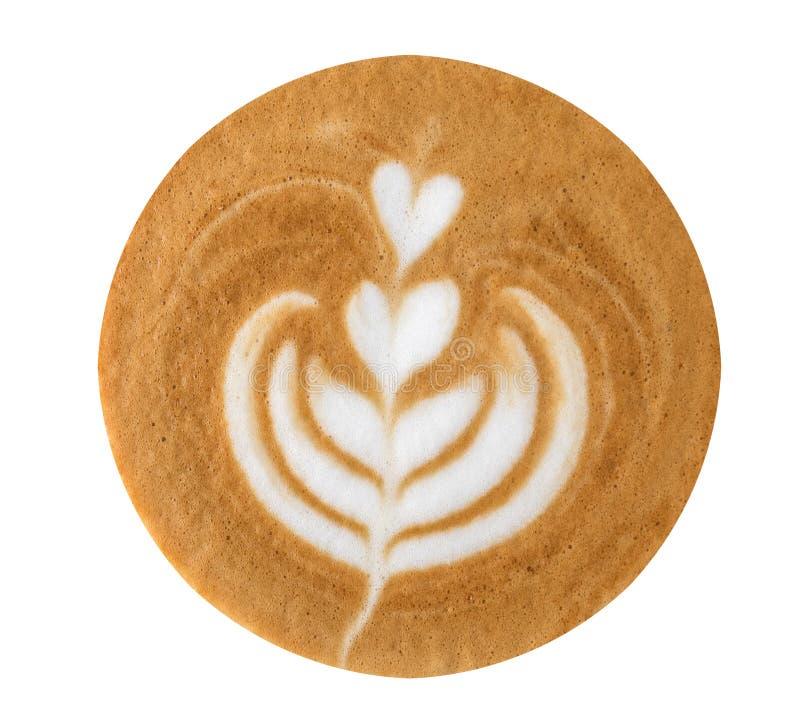 Opinión superior en forma de corazón de la espuma del café del arte del Latte aislada en los vagos blancos foto de archivo libre de regalías