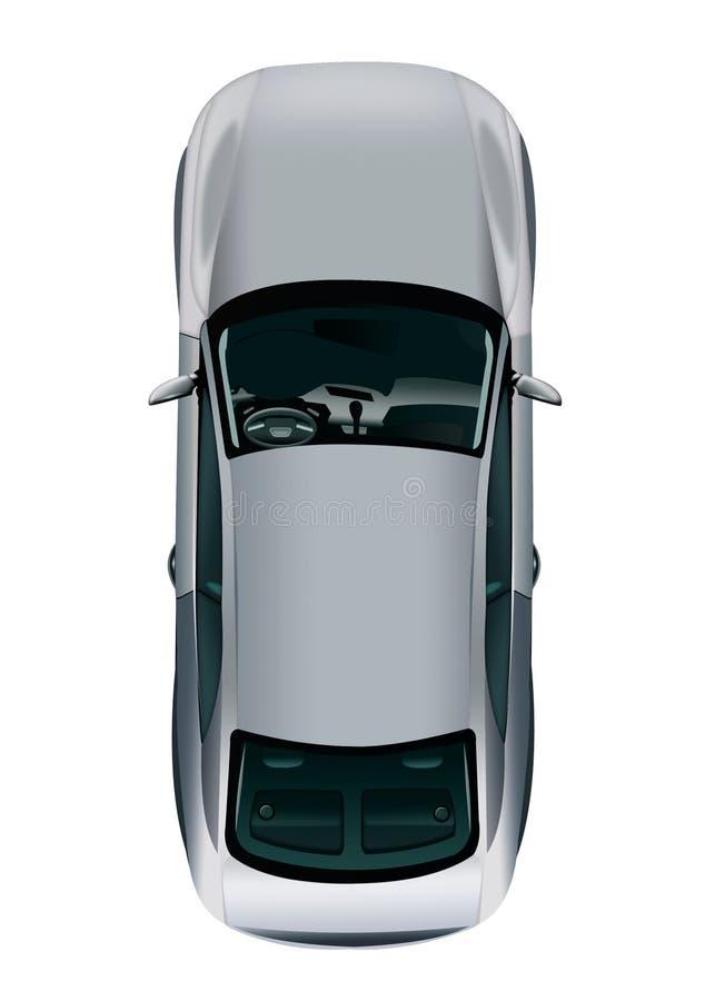 Opinión superior gris del vehículo de pasajeros sobre el fondo blanco C gris aislada stock de ilustración