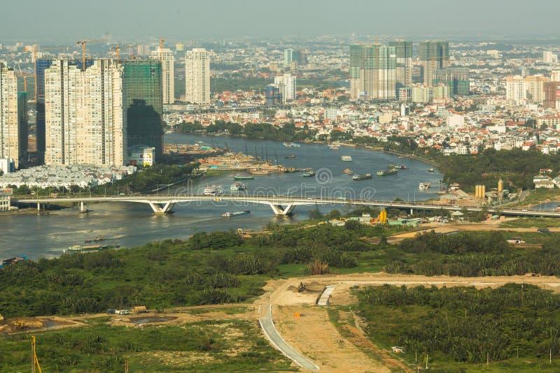 Opinión superior Ho Chi Minh City de la torre financiera de Bitexco imágenes de archivo libres de regalías