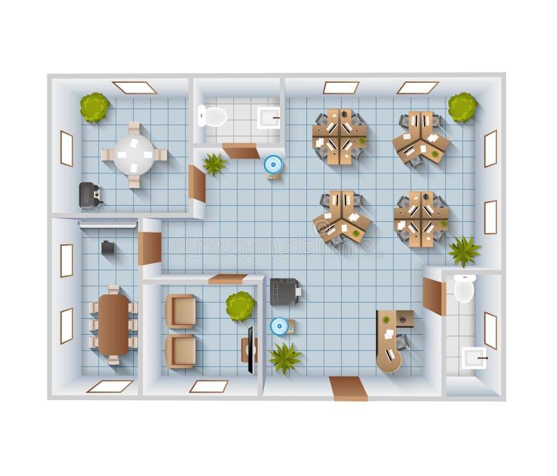 Opinión superior interior de la oficina libre illustration