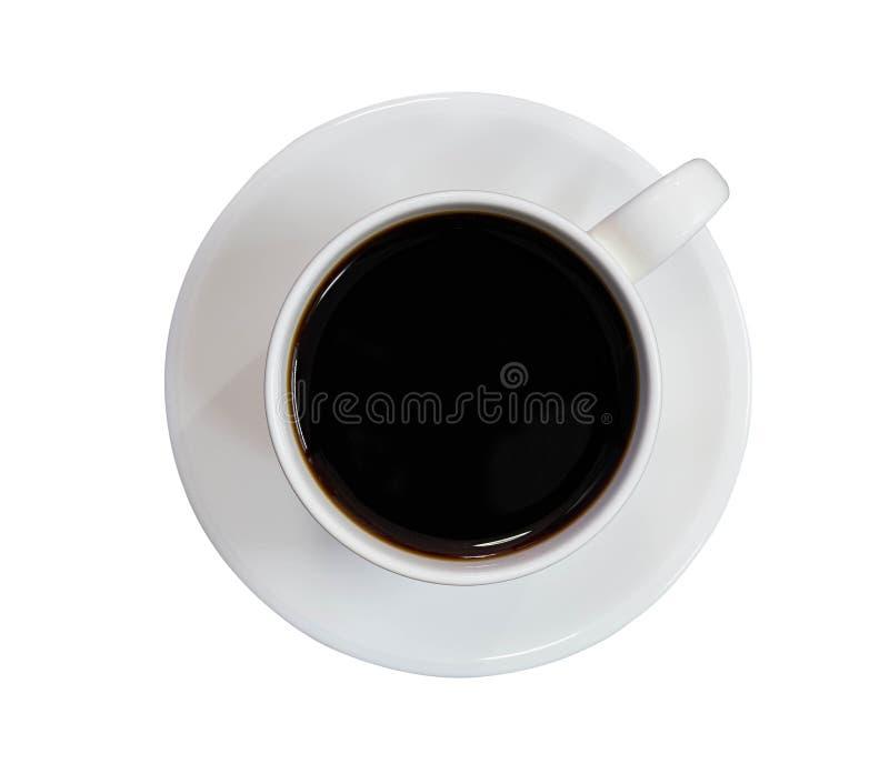 Opinión superior llenada café de la taza sobre fondo blanco aislado fotografía de archivo libre de regalías