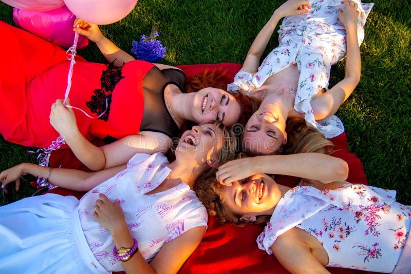 Opinión superior los amigos elegantes hermosos que sonríen mientras que miente en hierba imagenes de archivo