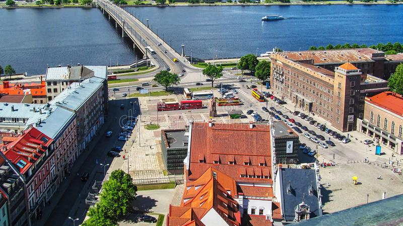 Opinión superior los fusileros letones Riga cuadrada, Letonia foto de archivo