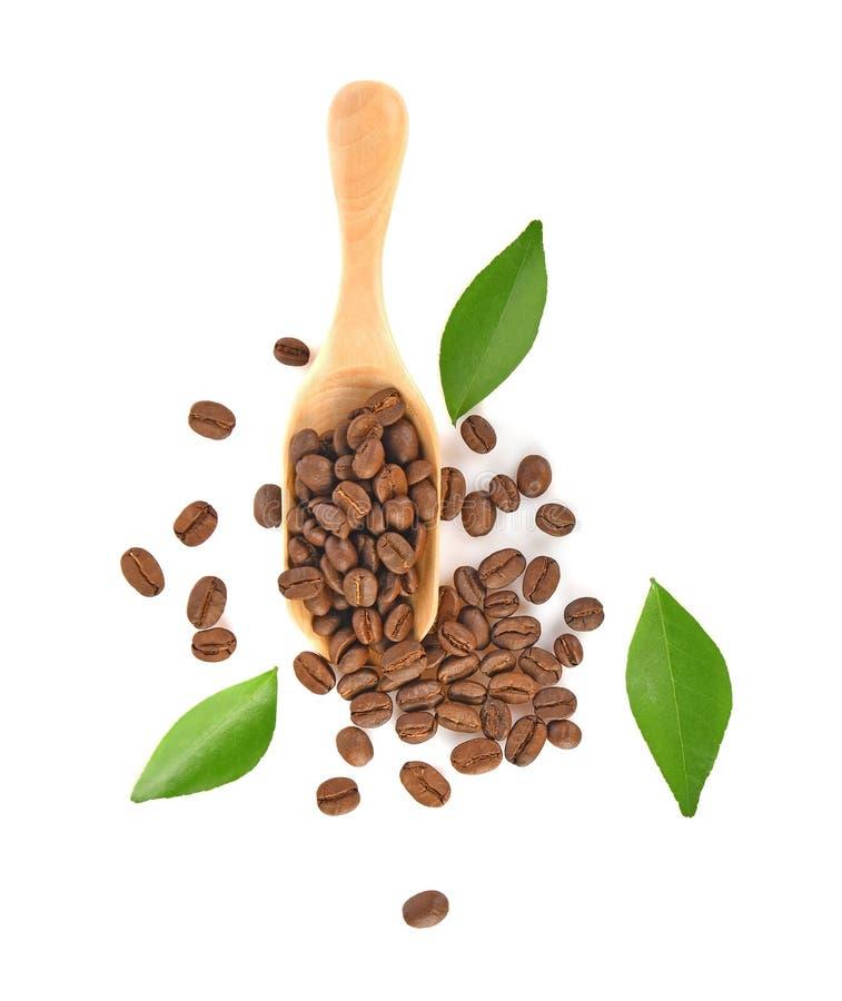 Opinión superior los granos de café aislados en el fondo blanco imágenes de archivo libres de regalías