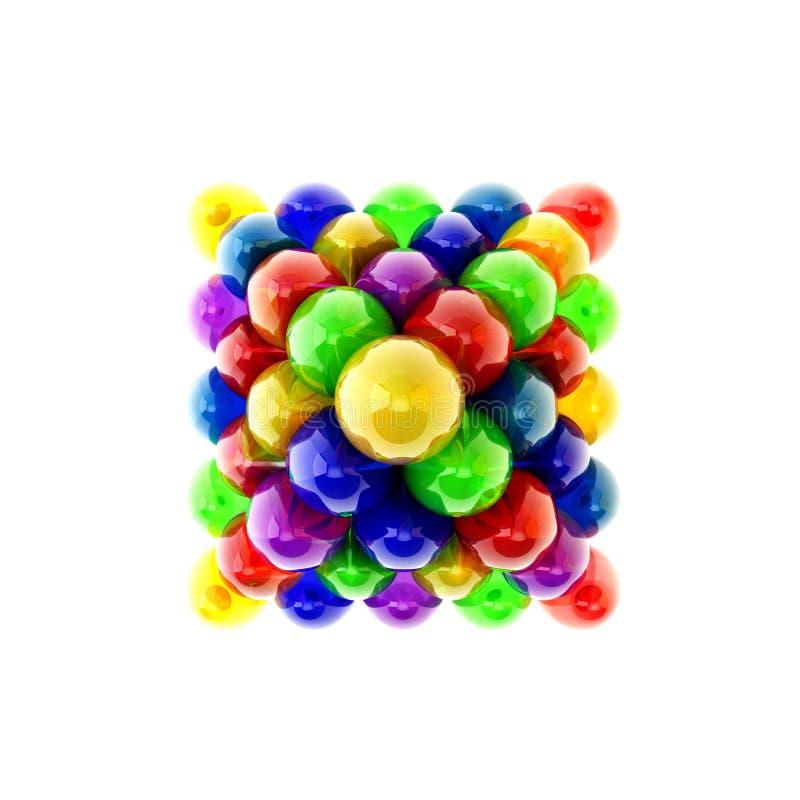 Opinión superior multicolora de los huevos de Pascua de la pirámide ilustración del vector