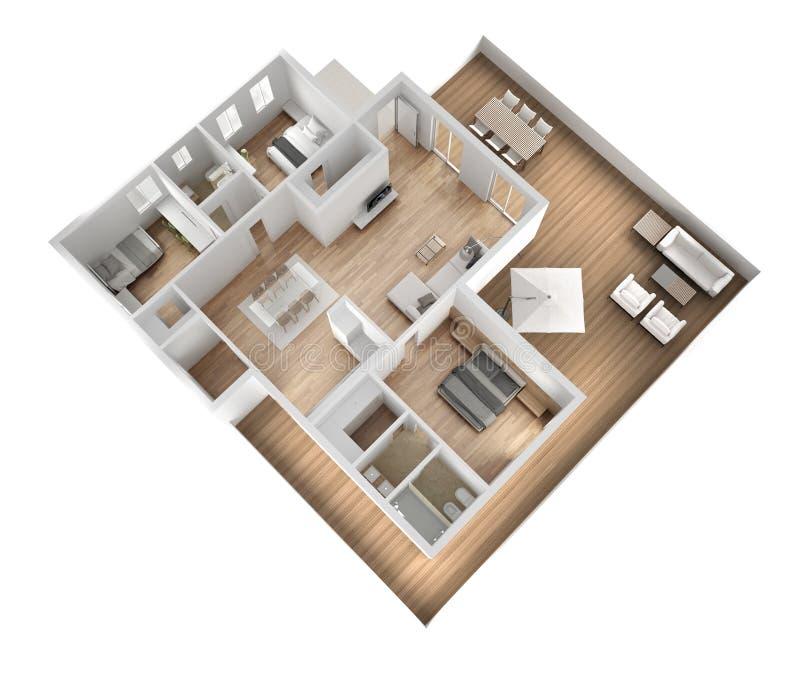 Opinión superior plana del apartamento, muebles y decoraciones, plan, diseño interior seccionado transversalmente, idea del conce stock de ilustración