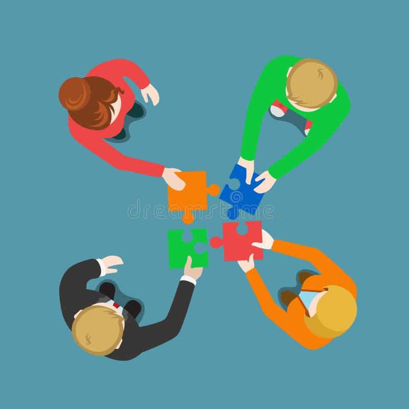 Opinión superior plana del vector del trabajo en equipo de la sociedad de la solución del equipo del negocio stock de ilustración