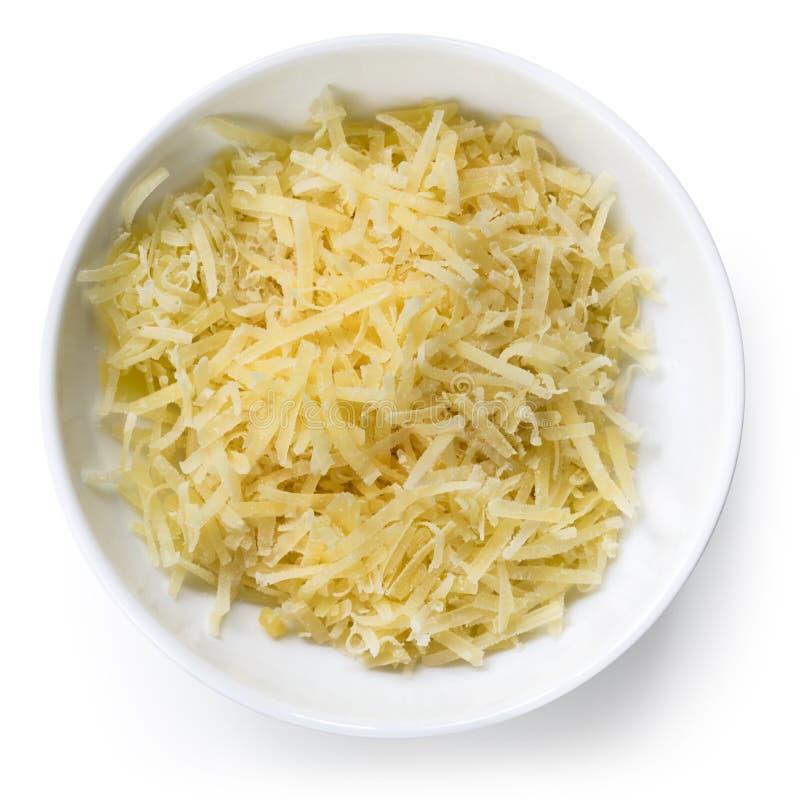 Opinión superior rallada del queso parmesano fotografía de archivo libre de regalías