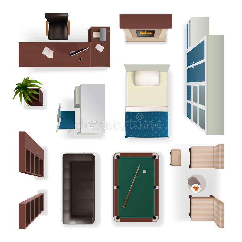 Opinión superior realista de los elementos interiores modernos libre illustration
