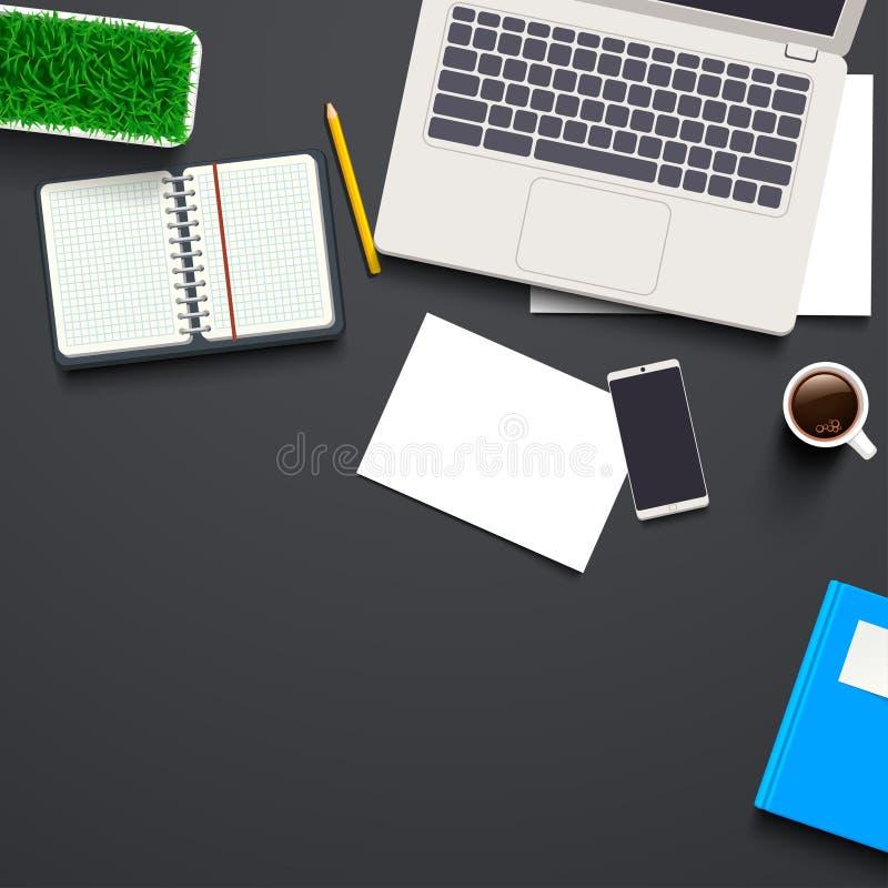 Opinión superior sobre el escritorio del trabajo ilustración del vector