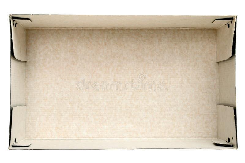 Opinión superior sobre la caja de cartón vacía imagenes de archivo