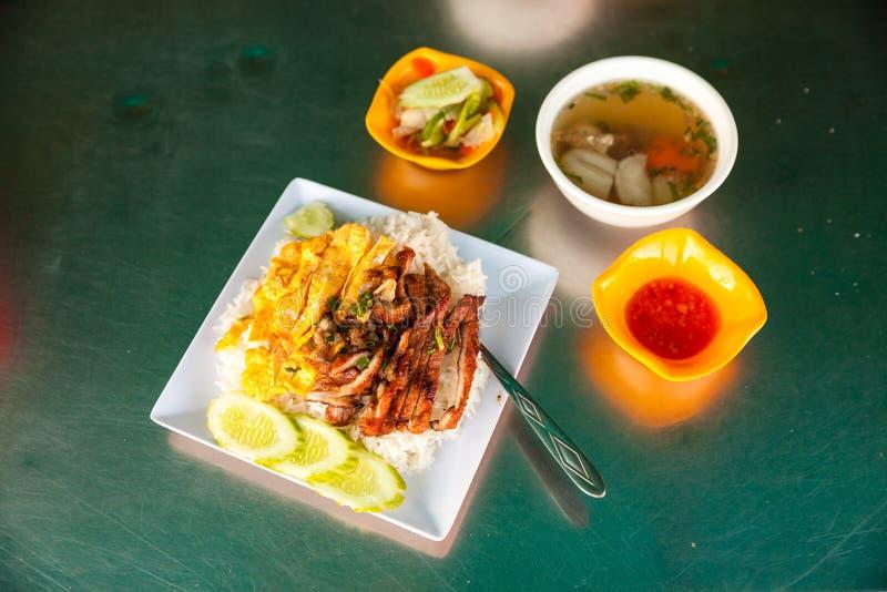 Opinión superior sobre la comida de la calle en Camboya fotografía de archivo libre de regalías