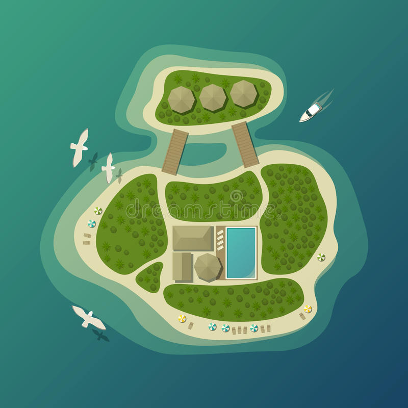 Opinión superior sobre la isla o isla con el paraguas en la playa de la arena y casa de planta baja con la piscina, bosque o made stock de ilustración