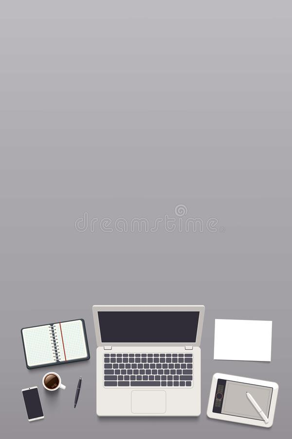 Opinión superior sobre lugar de trabajo ilustración del vector