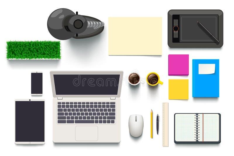 Opinión superior sobre objetos del escritorio stock de ilustración
