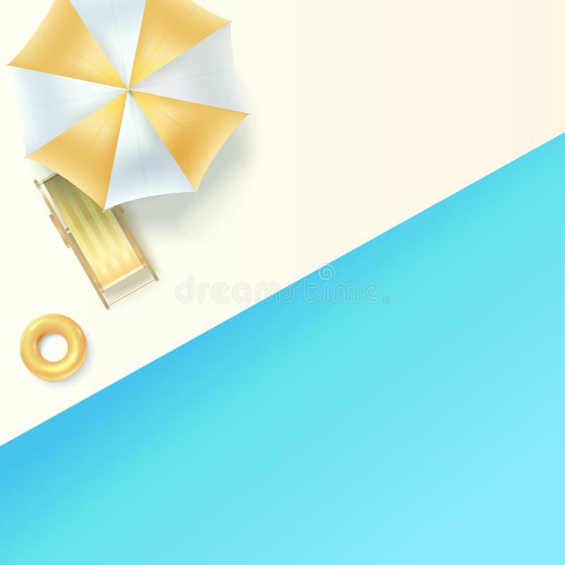Opinión superior sobre ocioso del sol debajo de un paraguas en el borde de la piscina Concepto de vacaciones de verano, endecha p ilustración del vector