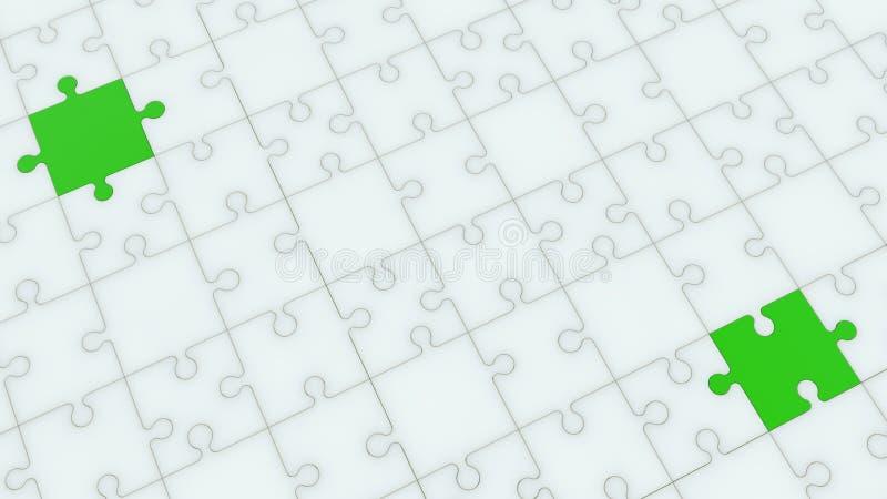 Opinión superior sobre rompecabezas en los colores blancos y verdes ilustración del vector