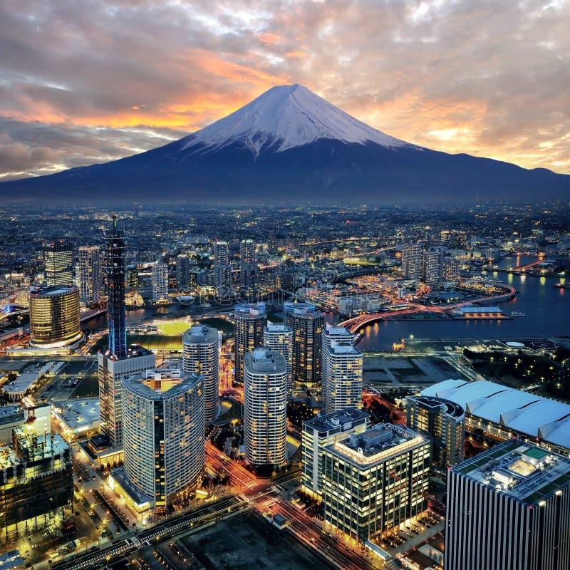 Opinión surrealista de la ciudad de Yokohama foto de archivo libre de regalías