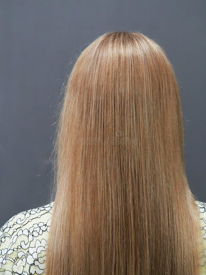 Opinión teñida rubia larga de la parte posterior del pelo sobre fondo gris fotografía de archivo