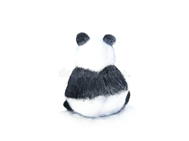 Opinión trasera de la acuarela de un fondo blanco aislado exhausto de la mano de la panda stock de ilustración