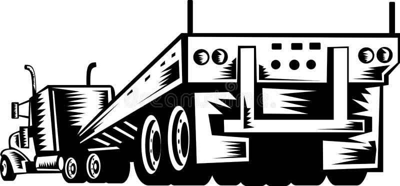 Opinión trasera del carro y del acoplado del camión stock de ilustración
