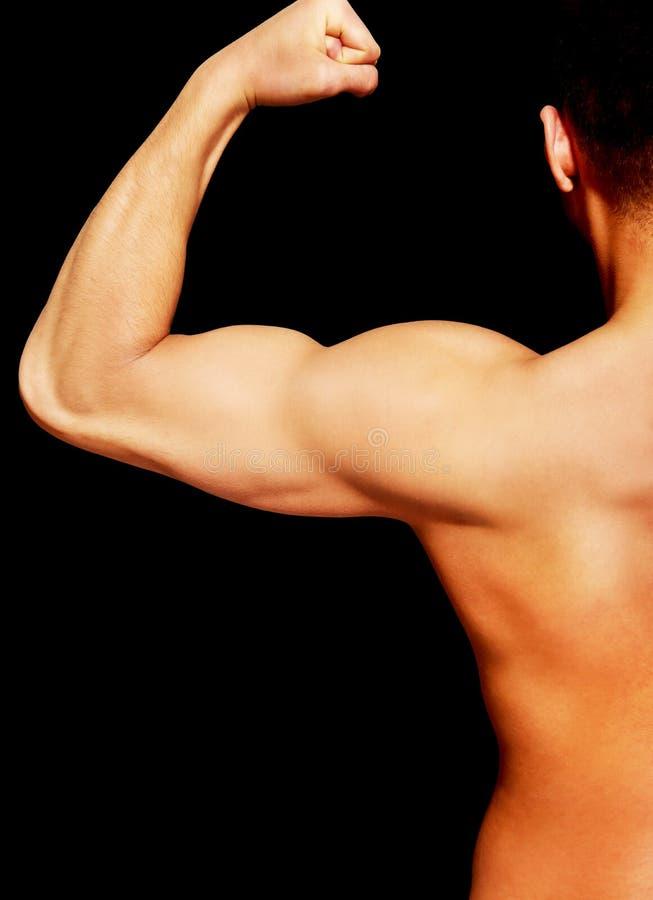 Opinión trasera el hombre muscular joven fotos de archivo
