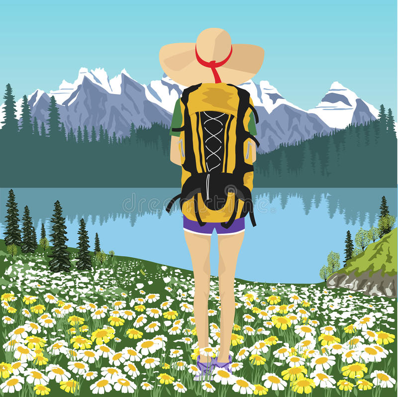 Opinión trasera el viajero de la mujer que mira el lago de la montaña en verano stock de ilustración